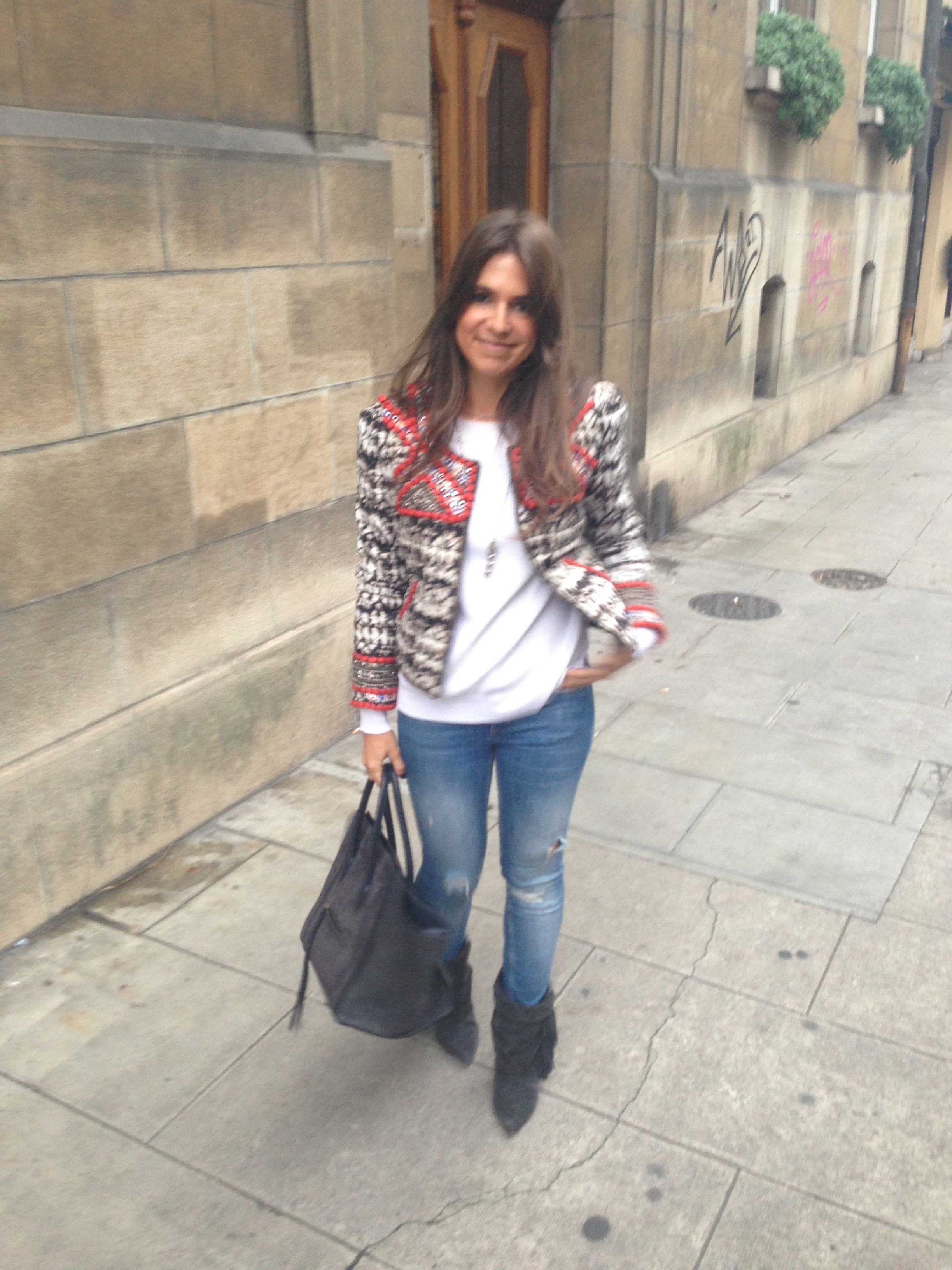 Jacket, booties and necklace: Isabel Marant pour H&M